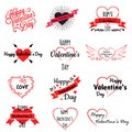 Set of valentine day logos, icons with hearts and inscriptions, vector illustration