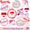 Set of Valentine Day stamps Royalty Free Stock Image