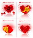 Set of Valentine`s day banners. Red hearts made of Royalty Free Stock Photo