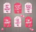 Set of Valentine`s day gift tags