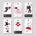Set of Valentine`s Day gift tags in red and black colors. Royalty Free Stock Photo