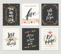 Set of Valentine`s Day hand drawn greetings