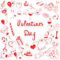 Set of Valentine`s Day Symbols. Children`s Funny Doodle Drawings of Red Hearts, Gifts, Rings,Balloons Arranged in a shape of Heart