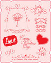Set of Valentine`s Day symbols and design elements Stock Images