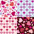 Set valentine seamless hearts pattern Stock Image
