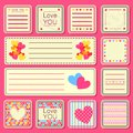 Set of Valentine Small Cards Royalty Free Stock Image