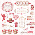 Set of valentines day design elements decoration Royalty Free Stock Photography
