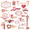 Set of valentines day design elements decorations color version Stock Image