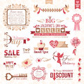 Set of valentines day design elements decorations color version Stock Images