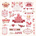 Set of valentines day design elements decorative Stock Images