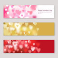 Set of Valentines day horizontal banners design with blurred pink, red and golden hearts.