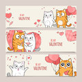 Set of valentines day horizontal vector banners happy with cute cats Royalty Free Stock Image