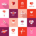 Set of valentines day icons for mothers wedding love and romantic events Stock Photo
