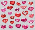 A set of valentines day red and pink hearts. Printable stickers collection.