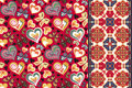 Set of valentines floral background with hearts, butterfly and seamless border, band ribbon strip. Retro pattern Royalty Free Stock Photo