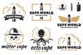 Set of vape, e-cigarette logo.