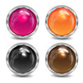 Set of the varicoloured buttons is in a silvery frame Royalty Free Stock Photo