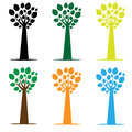 Set of varicoloured trees of trees on a white background Royalty Free Stock Photography