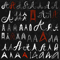 Set of 50 varied hand drawing letters A on black background. Can be used as elements of logo design.