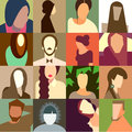 Set of various avatar faces vector eps illustration Royalty Free Stock Images
