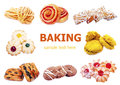 Set various baking isolated on white background Royalty Free Stock Photo