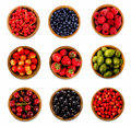 Set various berries. Strawberries, currant, cherry, raspberries, gooseberries and bilberry. Royalty Free Stock Photo
