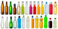 Set of various beverage bottles collection cold Stock Image