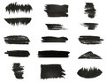 Set of various black watercolor hand paint brush strokes are isolated on a white background Royalty Free Stock Image