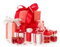 Set of various boxes for the christmas gifts isolated on white Stock Photos