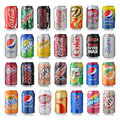 Set of various brand of soda drinks los angeles usa december collection brands in aluminum cans on white Stock Photography