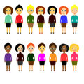 Set of various business people of different nationalities. Women. Simple flat style on white background