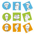 Set of various cartoon character faces male vector face image series Royalty Free Stock Images