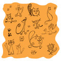 Set of various cats drawings illustration on the orange background Stock Photo
