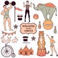 Set of various circus elements