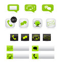 Set of various communication icons customer support via email chat and telephone Stock Photography