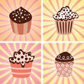 Set of various cupcakes Stock Image