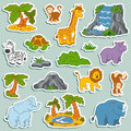 Set of various cute animals vector stickers of safari animals and objects nature Royalty Free Stock Photography