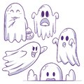 Cute Ghost Doodle Collection Royalty Free Stock Photo