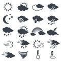 Set of various dark grey weather symbols, elements of forecast - icon of sun, cloud, rain, moon, snow, wind, whirlwind, rainbow