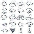 Set of various dark grey weather symbols, elements of forecast, line design Royalty Free Stock Photo