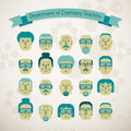 Set of various doodle faces Royalty Free Stock Photography