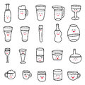 Set of various doodles hand drawn rough simple sketches of various types of alcoholic and non alcoholic drinks bottle water icon Royalty Free Stock Images