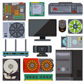 Set of various electronics devices computer parts vector. Royalty Free Stock Photo
