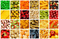 Set of various fruits and vegetables Stock Images