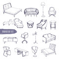 Set of various furniture. Hand drawn different types sofas, chairs and armchairs, bedside tables, beds, tables, lamps