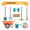 Set of various gardening items. Garden tools. Royalty Free Stock Photo
