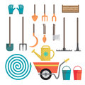 Set of various gardening items. Garden tools Royalty Free Stock Photo