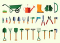 Set of various gardening items. Royalty Free Stock Photo