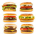 Set of various hamburgers isolated on white background Stock Photo