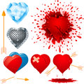 Set of various hearts eps Stock Photography